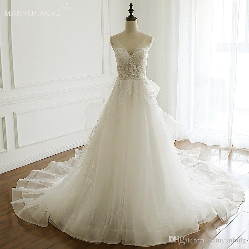 Lace Bohemian 2018 Spring New Wedding Dress V Neck Sheer Back Bell ...