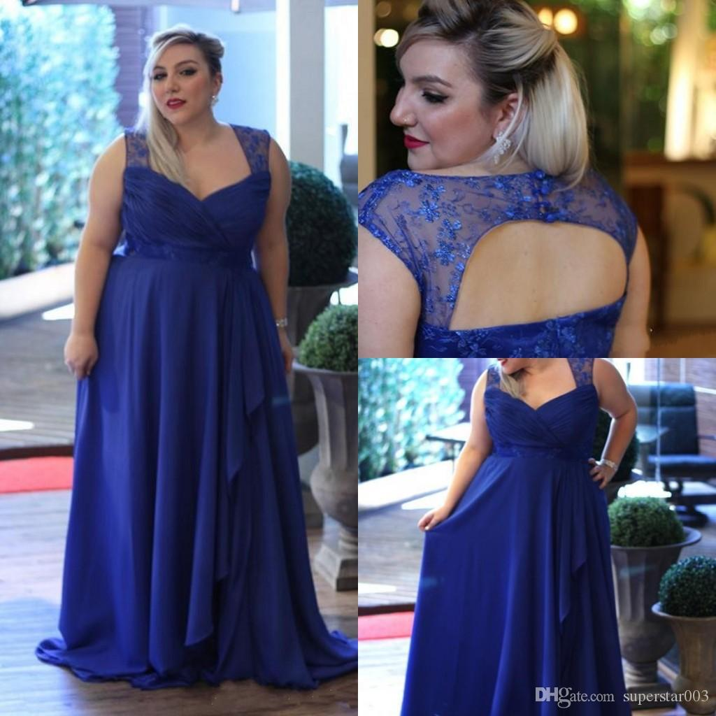 Plus Size Special Occasion Dresses Chiffon Prom Dresses Royal Blue  Spaghetti A Line Formal Evening Gowns Bridesmaids Dresses Mothers\' Dress  Online ...