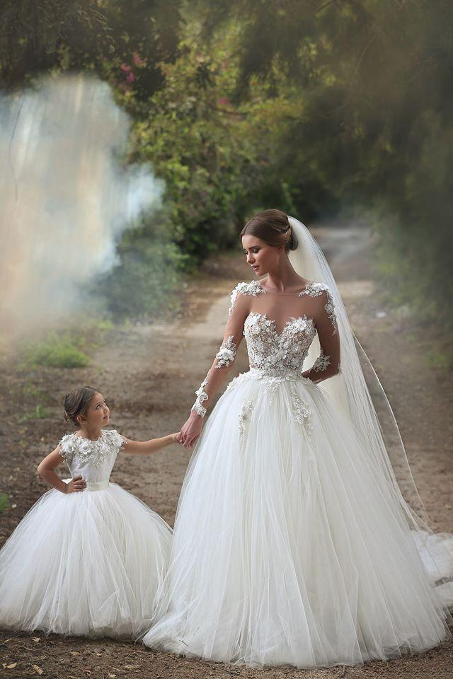 24ced4611ea72 Newest Mother Daughter Wedding Gowns Ball Gown Sheer Neck Backless Sweep  Train With Handmade Flower Body Bridal Gown Two Dresses Zahy601 Chic  Wedding ...