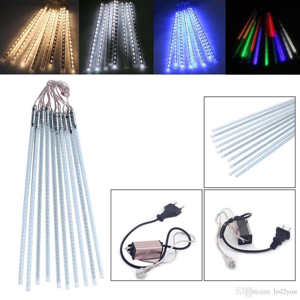 멀티 컬러 50CM SMD2835 유성우 비가 관 AC100-240V LED 크리스마스 불빛 웨딩 파티 가든 크리스마스 스트링 라이트 야외