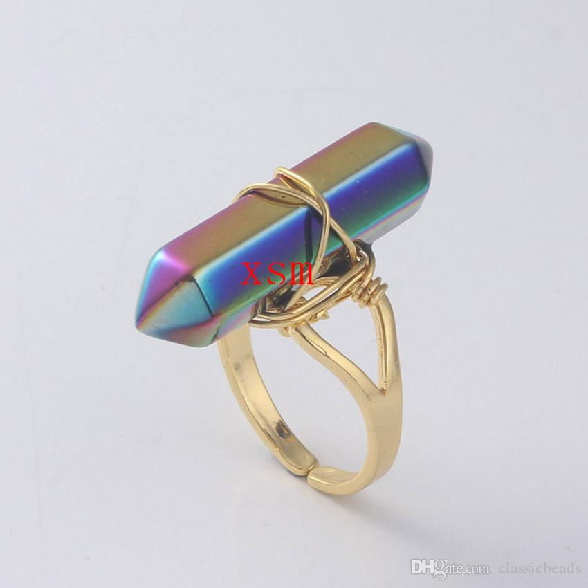 Promotion Women Ring,Natural Full Colour Hexagon Prism Crystal Ring For Women And Men Jewelry Fit Wedding Ring 10pc Free Shiping