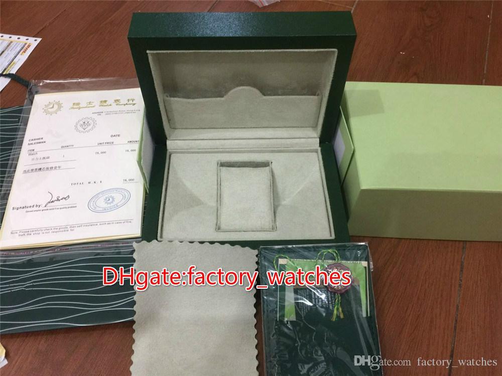 Kağıt kartları ile üst sınıf yeşil ahşap marka saatler kutusu