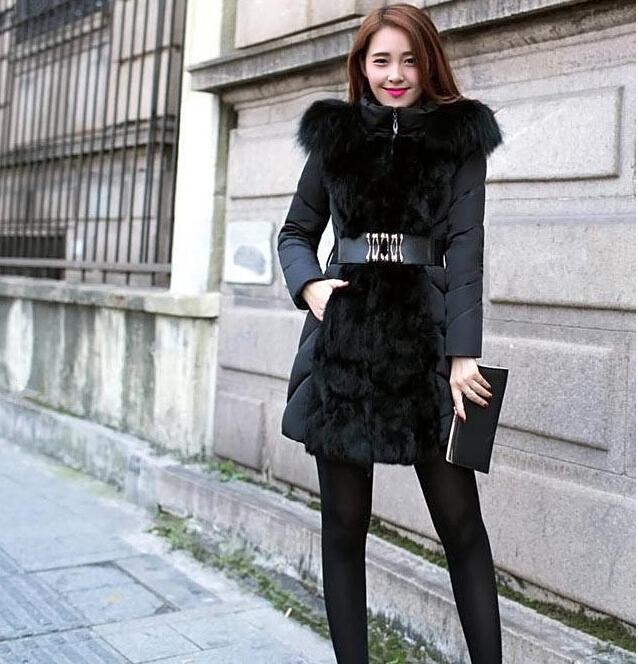 New Style Thick Coats Women 2015 Luxury Winter Womens Winter Long Down & Parkas Jacket For Coat Collar M-XXL Elegant Outerwear Ladies F Jpew