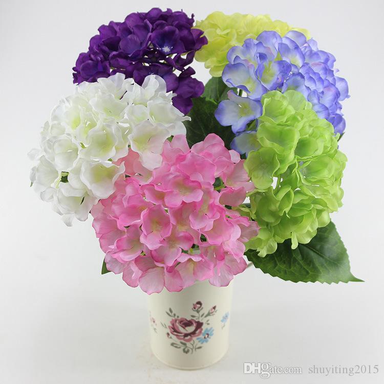 Estilo Pastoral europeu Branco Flor De Seda Artificial Tecido Hortênsia Bouquet Para Decorações Da Festa de Casamento 6 Cores 2015 Nova Chegada