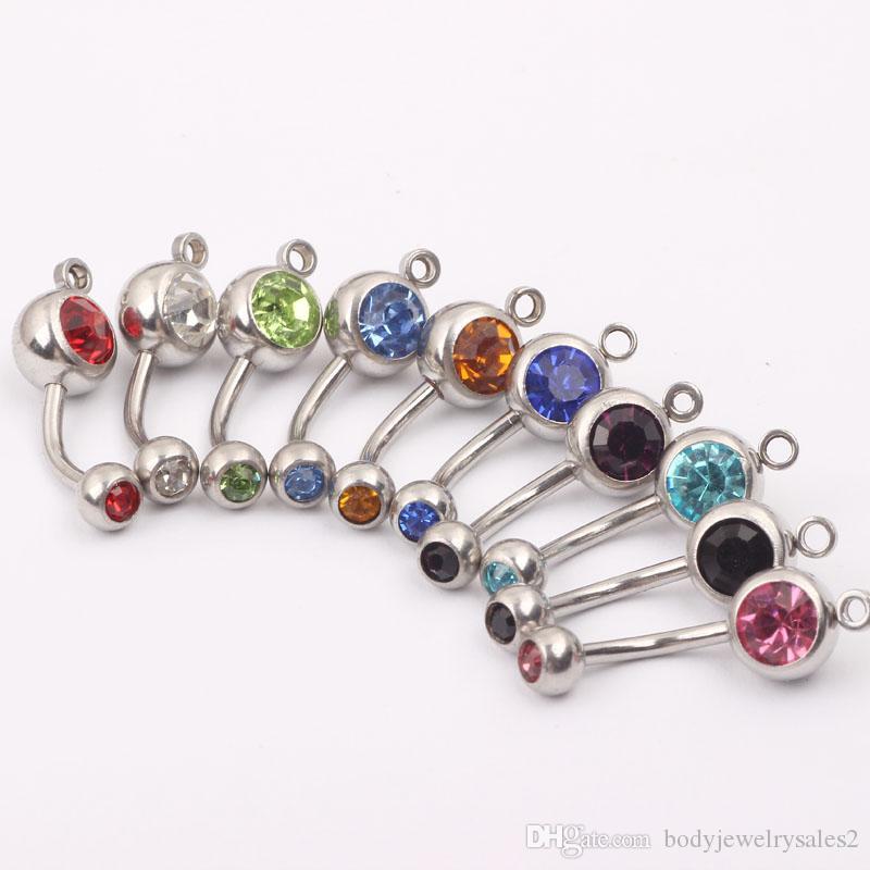 الفولاذ المقاوم للصدأ حزام البطن B010 100pcs / lot مزيج 8color الأزياء السرة خاتم السرة زر عصابة البطن شريط هيئة المجوهرات