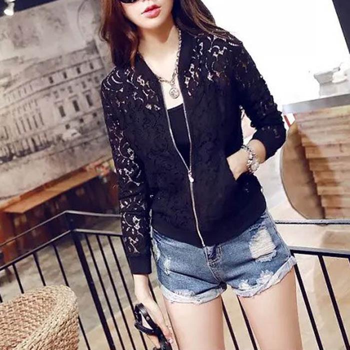 Sale Women Lace Jacket Hollow Out Jacket Women Tops Long Sleeve Slim Black Outwear Women Lace Coat
