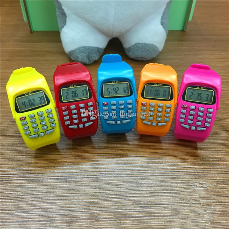 Мода электронные цифровые светодиодные часы повседневные силиконовые спортивные часы для детей детей многофункциональный калькулятор наручные часы красочные часы