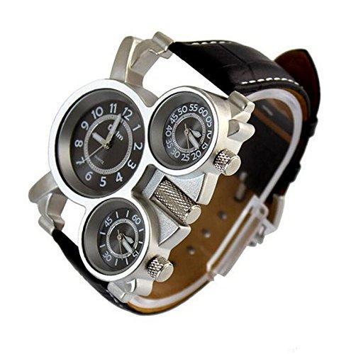 TM Oulm Luxury Sport Military quadrante al quarzo Orologio multi Time Zone Mens Wrist Watch.PUPUG Orologio da polso da uomo al quarzo