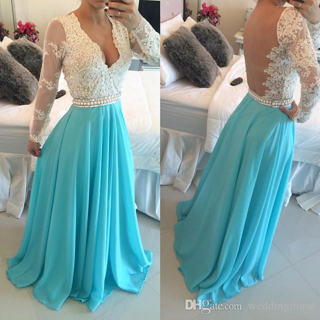2020 Prom Dresses Long A Line Lace Bodice with Beading and Pearls Homecoming Dresses Chiffon Sky Blue Evening Party Dress