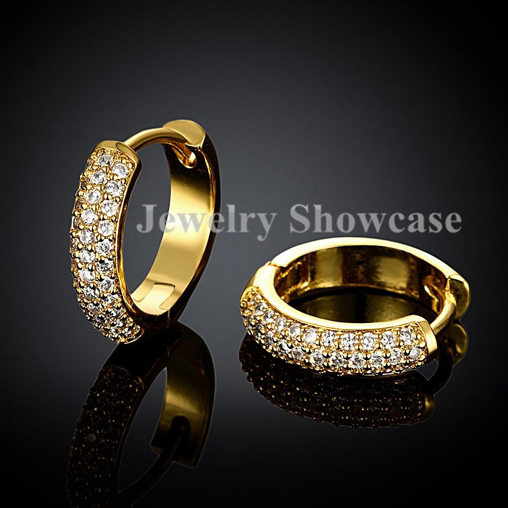 Fine Workmanship 2 Row Micropave CZ Huggie Hoop Earrings Rose Gold/Gold Plated 1 Pair