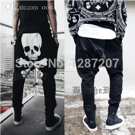 Atacado-Novo 2015 Smmer Mens Moda Harem Pants Crânio Projetado cabido Sweatpants Para homens de Hip Hop soltos calças Masculino Rua Calças