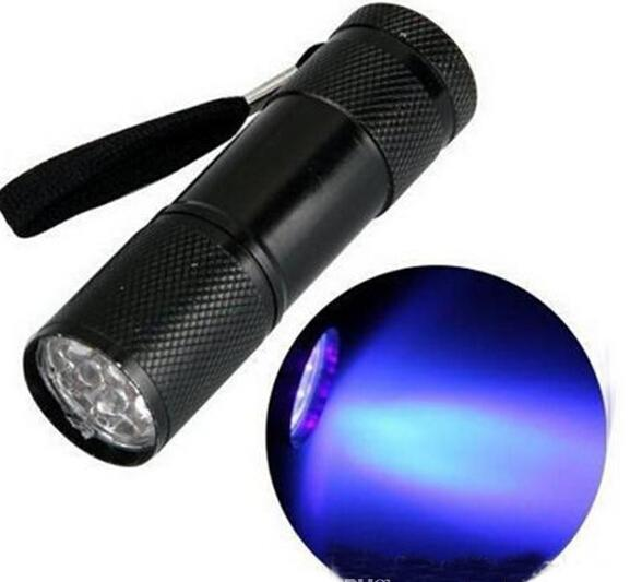 وصول جديد، 9 LED مصغرة الشعلة البسيطة LED مصباح يدوي 300LM الأشعة فوق البنفسجية LED التخييم مصباح يدوي الشعلة للماء مصباح المشاعل مصباح (أسود)
