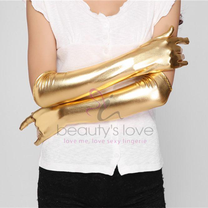 Beautys Love Wetlook-Handschuhe mit Spitze