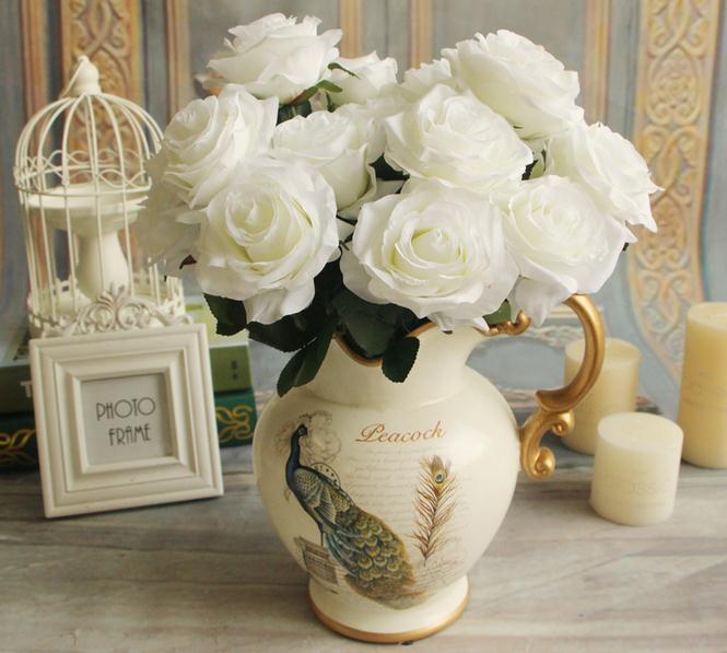 """シルクローズブッシュ42cm / 15.54 """"長さの造花フランスのバラ9つの茎あたり9色のための束1色の花束6色"""