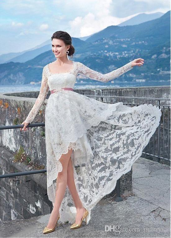 White Lace Plus Size Wedding Dresses Long Sleeves Keyhole Back ...