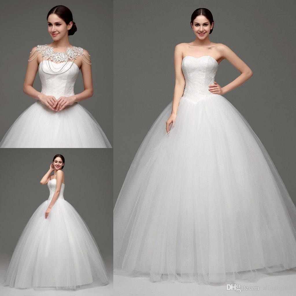 In Stock Ball Gown Wedding Dresses with Free Shoulder Chain 100% Real Photos Sweetheart Victorian Princess Wedding Gowns Cheap Bridal Dress