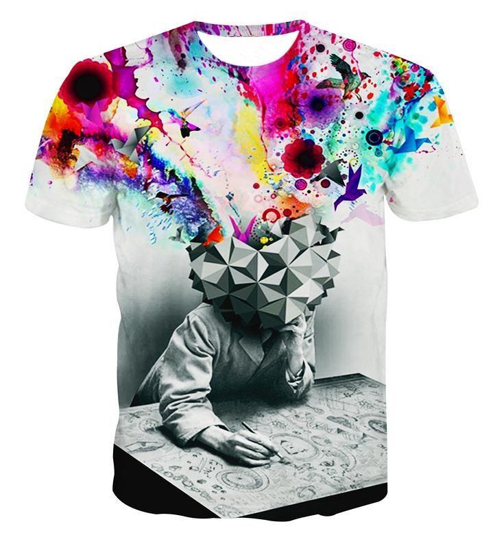 Alisister nova moda O Pensador Impressão T-shirt Abstrato Unisex Mulheres / Homens Casuais camiseta 3d para homens / mulheres harajuku camiseta