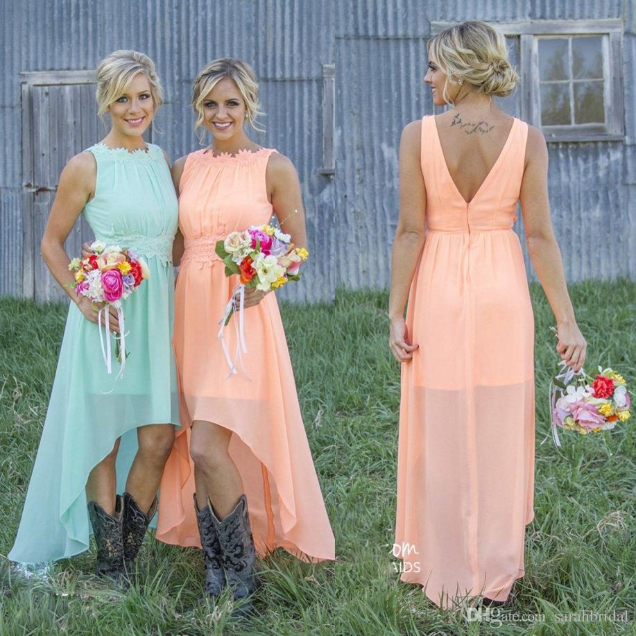 High Low cheap Bridesmaid Dresses For Summer Fall Maid of Honors Cheap Hot Sale Plus Size Lace Chiffon Simple Bridal Party Gowns
