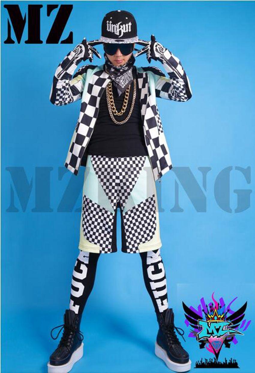 유럽과 미국의 패션 새로운 나이트 클럽 4 색 흑인과 백인 사각형 기관차 의상 남성 가수. S - 6 xl