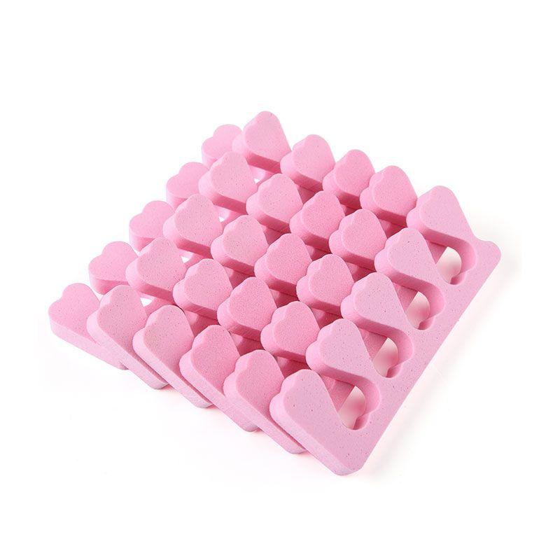 50 pcs/lot heart shape Nail Art Soft Finger Toe Separator for nail care Manicure