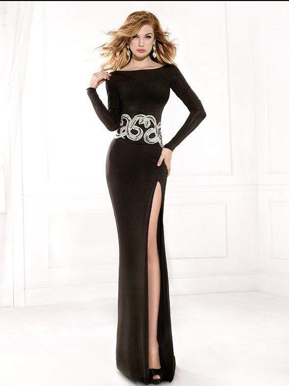 С длинным рукавом вечерние платья высокая боковая щель Sheer спинки длина пола бисером формальные черный пром платье русалка платья партии
