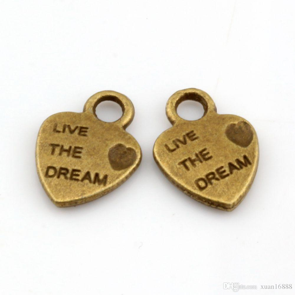 Горячей ! 250PCS Античное бронзовое мини-сердце «Live Dream» Шармы 9x12,5 мм DIY Jewelry