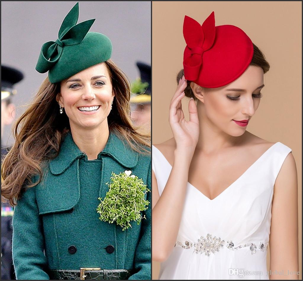 Kate Middleton Hat Black Red Gray Color Hats For Women Occasion Bridal Hair Accessories