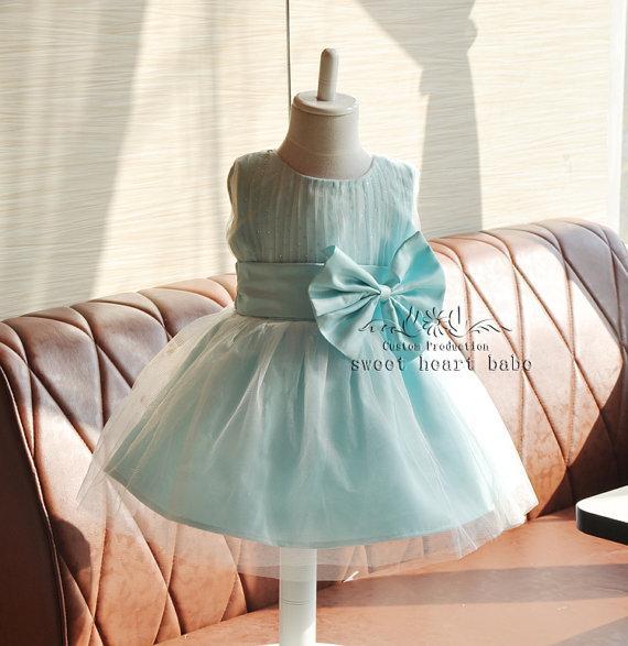 Venda quente !! Vestido da menina de flor Luz azul flor menina vestido-Batizado vestido-Baby Dress-tule Flor menina Vestido de festa-vestido de dama de honra