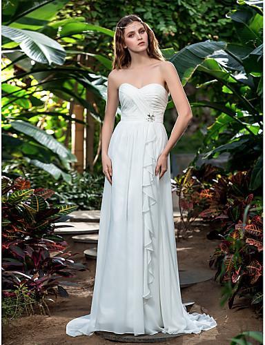 2016 New Fashion Popular Free Shipping Ivory Sweep/Brush Train Sweetheart Chiffon Sheath/Column Outdoor Wedding Dresses 164
