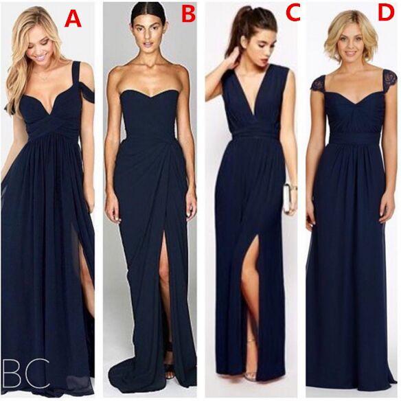 2019 새로운 패션 다크 네이비 블루시 폰 비치 신부 들러리 드레스 분할 다른 스타일 주니어 신부 들러리 드레스 사용자 정의 저렴한 가운