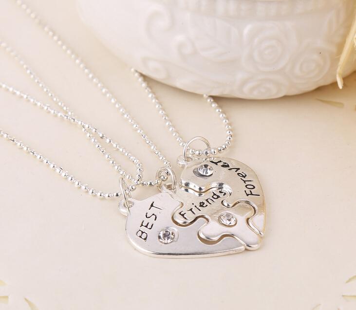 الجملة 5Set / lot BFF القلب المكسور 3 أجزاء قلادة أفضل أصدقاء للأبد قلادة قلادة المجوهرات