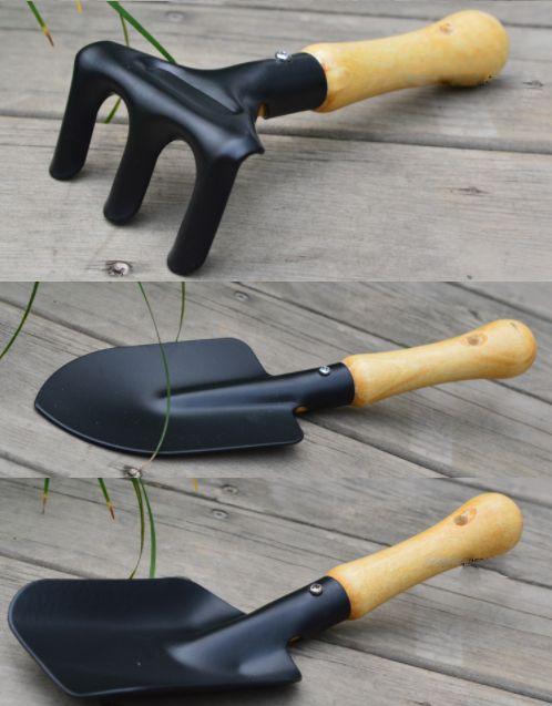 E3F8 1 Set 3 Stueck Mini Garten Werkzeuge Schaufel Rechen Spaten Holz Griff Meta