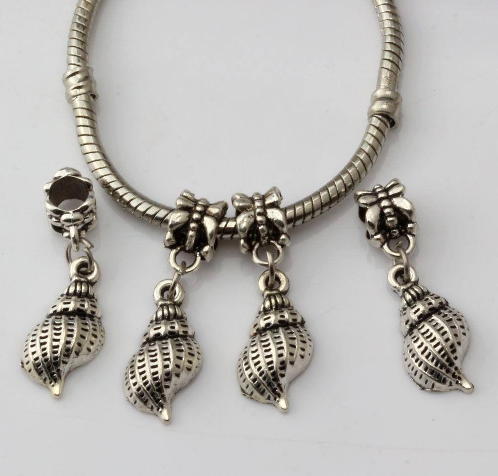 MIC 150 pcs Antique Silver Conch Dangle Beads Fit Charm Bracelets DIY Jewelry 9.5x 31mm