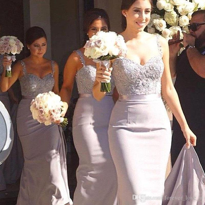 Elegante zeemeermin bruidsmeisje jurken op maat gemaakte lavendel lange formele bruiloft jurken kralen geappliceerd top spaghetti bandjes sweep trein