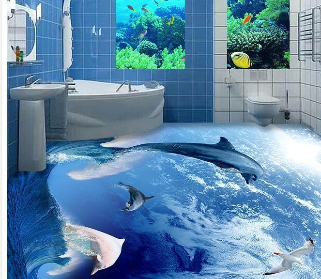 Custom photo floor wallpaper 3D stereoscopic 3D Dolphins floor 3d mural PVC wallpaper self-adhesion floor wallpaer 20157013