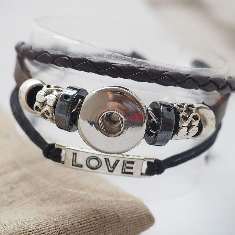 El yapımı siyah Aşk yapış deri Bilezikler Fit Snaps Düğmeler 18mm ayarlanabilir düğüm Ücretsiz Nakliye giger yapış takı