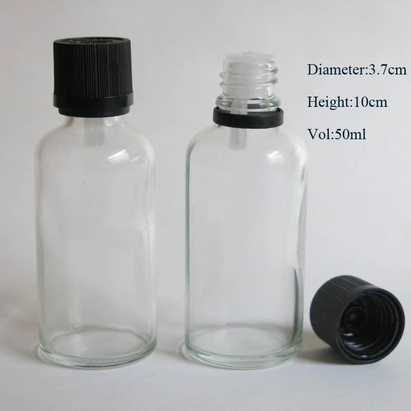 도매 10 / lot 50ml 투명한 유리 병에 리듀서 드로퍼와 탬퍼 분명 뚜껑, 명확한 에센셜 오일 병
