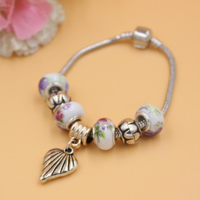 Nueva llegada Beads Europea envía al por mayor de bricolaje intercambiables pulseras de perlas de cerámica corazón de la pulsera de la joyería regalo
