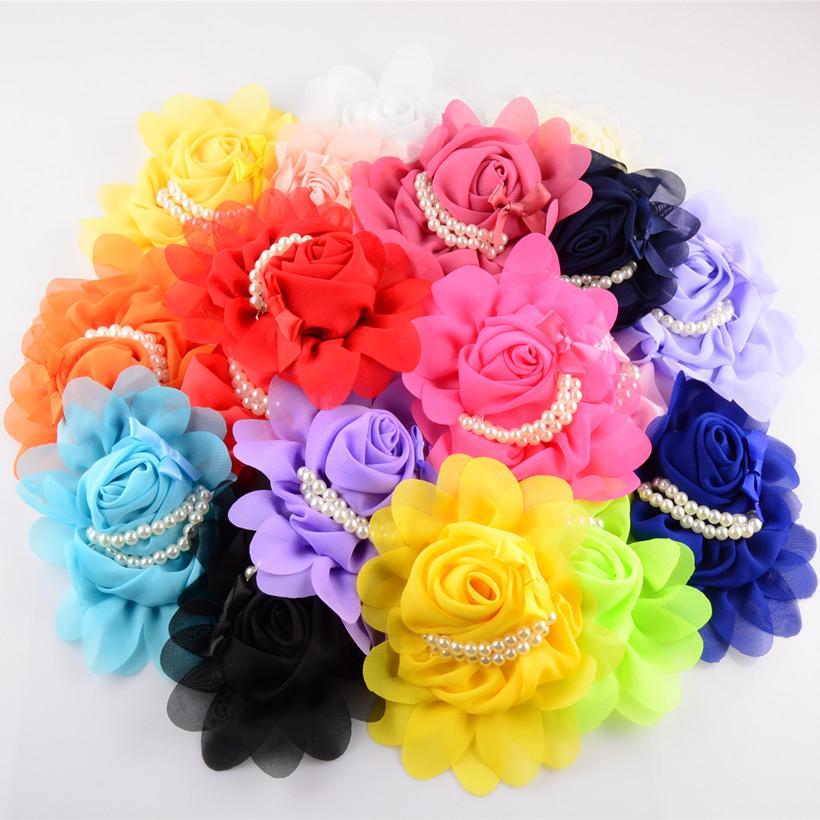 새로운 19c 소녀 5 .5 인치 쉬폰 모조 진주와 귀여운 바느질로 머리카락 꽃 19pcs / Lot 머리 장식 Diy 액세서리 패션 headbands