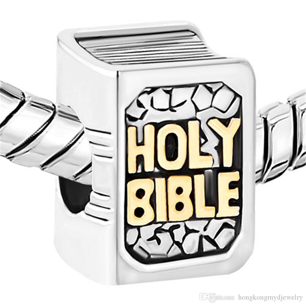 2 Тона Золото Посеребренные Религия Библия Крест Повезло Европейский Шарм Распорка Fit Pandora Браслет
