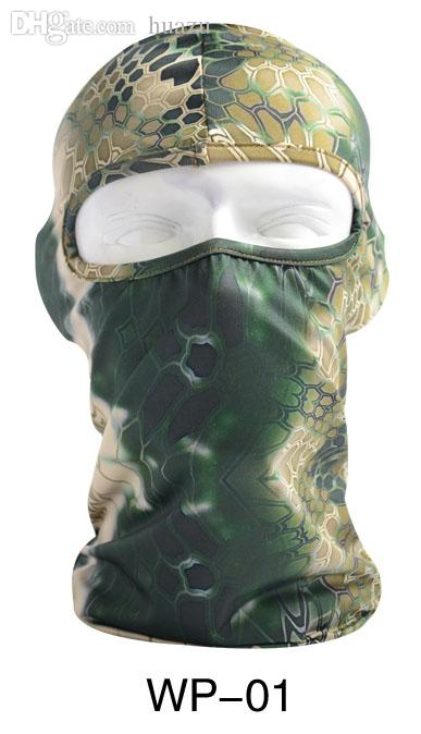 Wholesale-New Snake Camouflage Stretch Balaclava Paintball Tactical  Hiking Bike Outdoor Motorcycle Ski Cycling UV Full Face Mask
