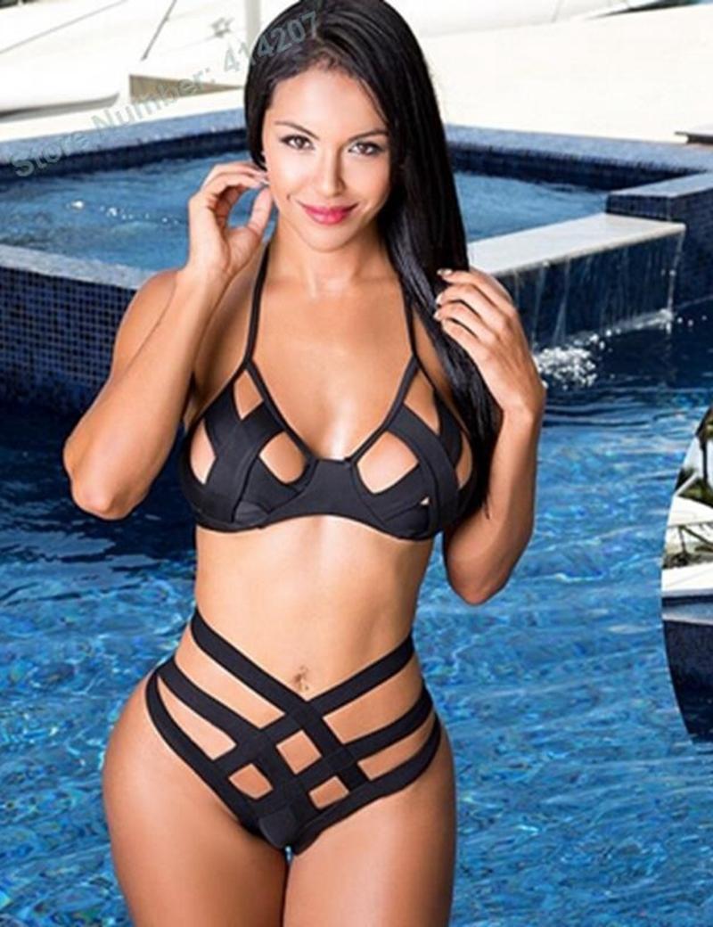 2016 Nueva Underwire Push Cover Up Bikini Vendaje Cintura alta cintura traje de baño Cut Out Halter traje de baño Tankinis Crochet traje de baño