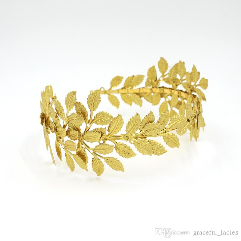Gold Olive Leaves Tiaras For Brides Handmade Bridal Headband Hair Pieces Unique Bridal Headpiece Bridal Hair Accessories Floral Crown Bridal