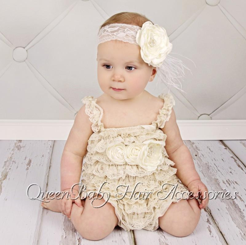 41a683886 ... Baby Girl Petti Romper Matching Flower Sash and Baby Headband set  Vintage Chic Romper