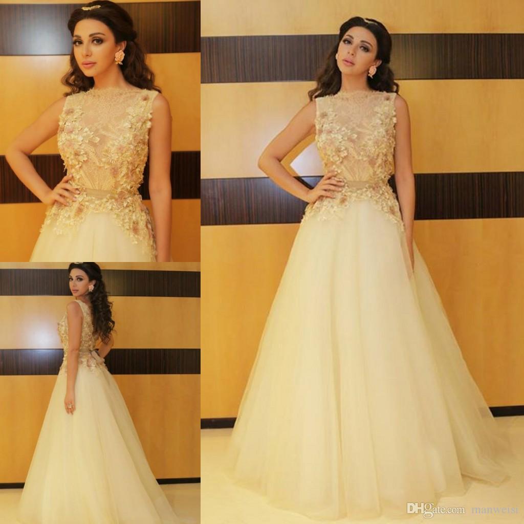 2018 Myriam Fares Prom Vestidos Baratos 3D Floral Applique A Linha Lace Vestido de Festa Bateau Pescoço Longos Vestidos de Noite