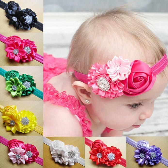 2016 Neonate Bambini Fasce per capelli Principessa Pizzo Perla Perle strass Perle floreali Fiori infantili Accessori per capelli Fasce per capelli D6476