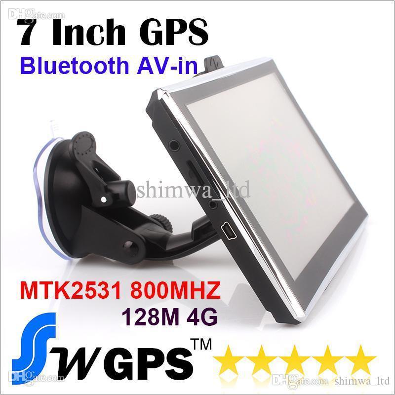 Navigatore del veicolo di navigazione GPS da 7 pollici MTK2531 800MHZ 128MB 4GB FMT MP3 / 4 Multilingue Win CE 6.0 bluetooth AV-in New Map Free