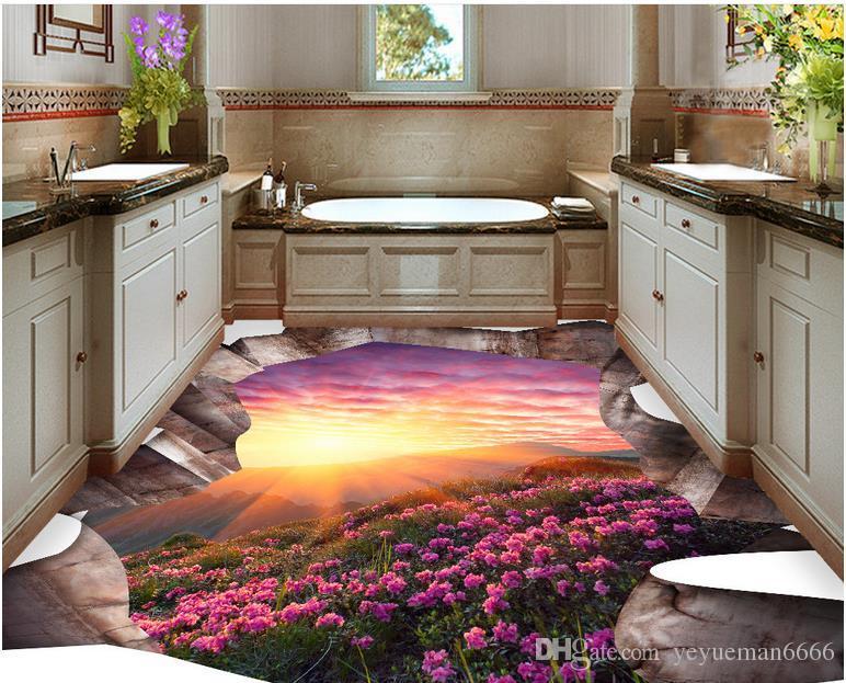 Acheter Personnalisé 3d Plancher Fleurs Paysage Papier Peint 3d Plancher  Peinture Étanche Papier Peint Pour Salle De Bain Pvc Rouleau De Sol De  $59.3 ...