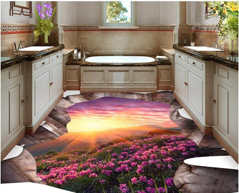 Таможня 3D полы цветы, пейзаж обои 3D пол росписи водонепроницаемый обои для ванной комнаты полы из ПВХ ролл