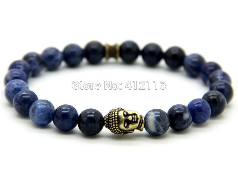 2015 новое прибытие высокое качество Мужские браслеты из бисера Оптовая 8 мм натуральный синий Вены бусины античная Бронзовая Будда браслеты подарки